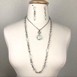 Silver & Aqua Crystal (2) Necklaces & Earrings Set